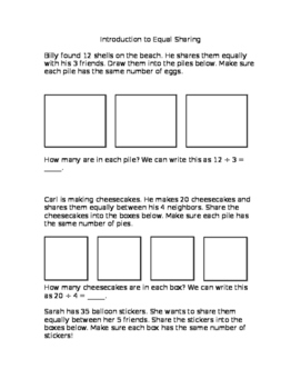 Equal Sharing and Number Sentences