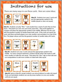 Equal Sign - Developing a concept of equal - card game