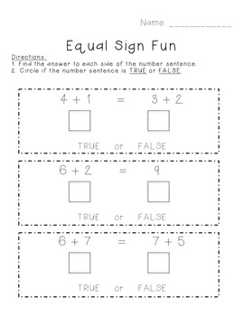 Equal Sign Fun- 1.OA.7