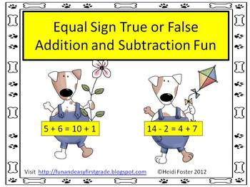 Equal Sign True or False Addition and Subtraction Fun (Common Core Aligned)