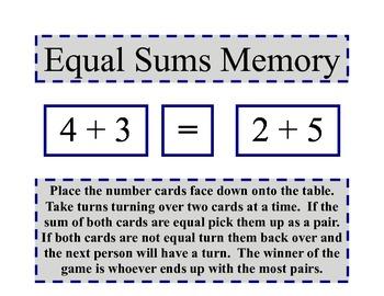 Equal Sums Memory Game
