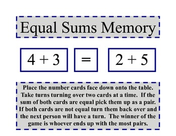 Equal Sums Memory Game