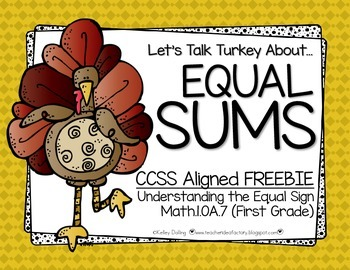 Equal Sums {Thanksgiving Math Center Freebie}