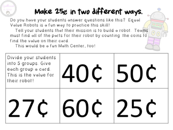 Equal Value Robots (Counting Coins)