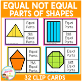 Equal and Not Equal Parts of Shapes Clip Cards