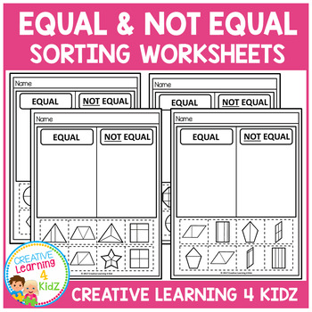 Equal and Not Equal Parts of Shapes Cut & Paste Sorting Worksheets