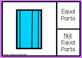 Equal and Not Equal Parts of Shapes Digital Task Cards: BOOM CARDS