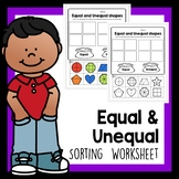 Equal and Unequal Shapes sorting worksheet that's no prep!