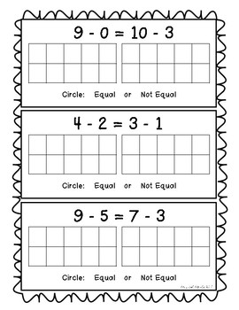 Equal or Not Equal - Subtraction