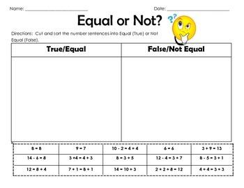 Equal or Not?  True False Equations
