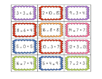 Equal/Not Equal Equation Sorts - Addition
