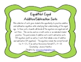 Equal/Not Equal Equation Sorts - Addition/Subtraction BUNDLE
