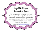 Equal/Not Equal Equation Sorts - Subtraction