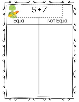 Equal/Not Equal Math Game