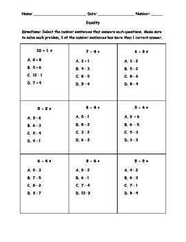 Equalities Worksheets