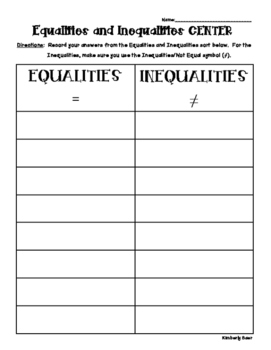 Equalities and Inequalities Sorting Center and Recording Sheet - Math Center!