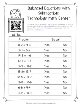 Equalities with QR Code in IPad or Computer Math Center