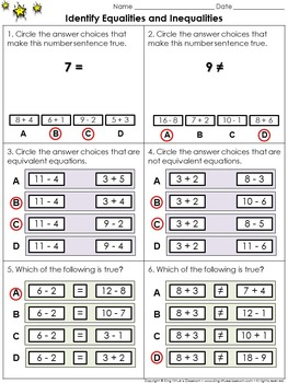 Equality: Identify Equalities and Inequalities - Practice Sheets - King Virtue