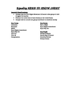 Equality Need to Know Sheet