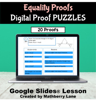 Equality Proof Puzzles DIGITAL Activity Google Slides - Scramble Paperless