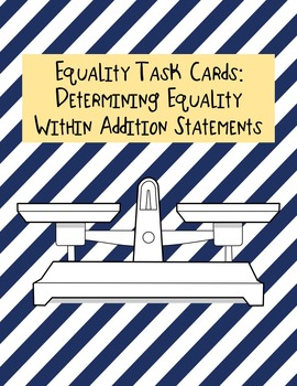 Equality Task Cards--Addition