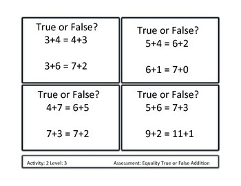 Equality True or False Addition Unit Differentiated/ Formative Based instruction