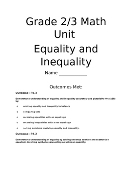 Equality and Inequality Lesson and Answer Key