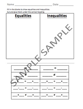 Equality and Inequality Sort - VA SOL Correlated