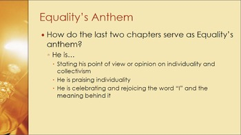 Equality's Own Anthem - Chapters 11 &12 - Anthem by Ayn Rand
