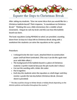 Equate the Days to Christmas Break