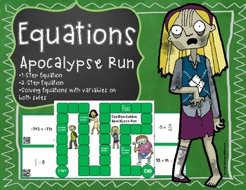 Equations - Apocalypse Run Board Game with QR Codes (1-step, 2-step equations)