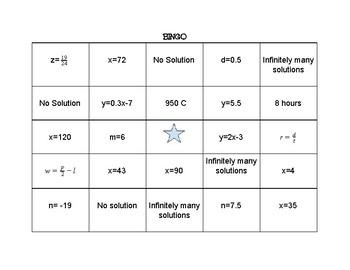 Equation BINGO