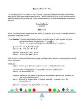 Equation Basics - Balancing, Manipulation and Solution