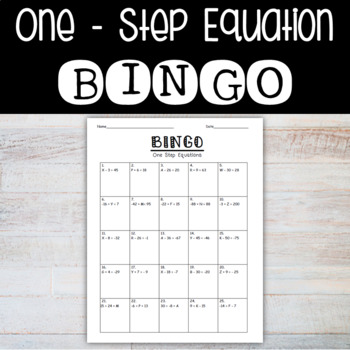 One-Step Equation Bingo