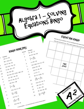 Algebra 1 - Solving Equations Bingo