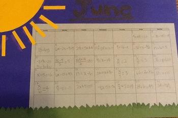 Equation Calendar Project By Cmb Teachers Pay Teachers