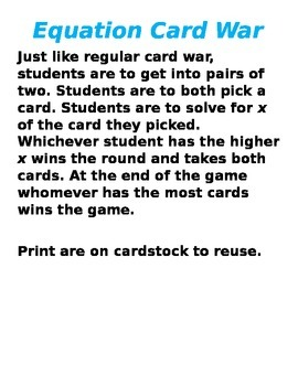 Equation Card War