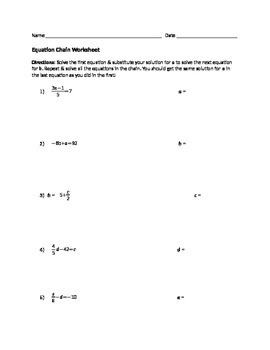Equation Chain Worksheet by Making Math Relatable Challenging and ...