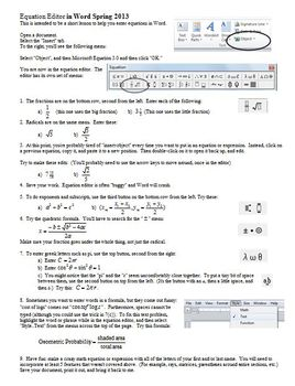 Using the Equation Editor in Word Spring 2013 (Editable)