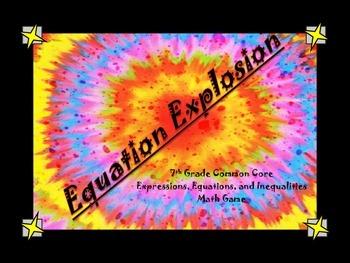 Equation Explosion Board Game 7th Grade Common Core Aligned