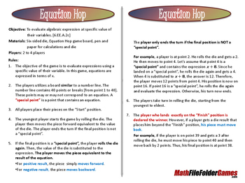 Equation Hop Game (Evaluate Algebraic Expressions)