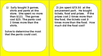 Equation/Inequalities Word Problem task Cards