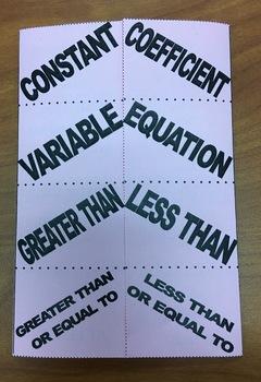 Equation/Inequality Foldable