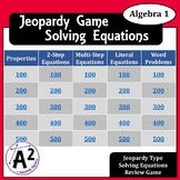 Algebra 1 - Solving Equations Jeopardy Review Game