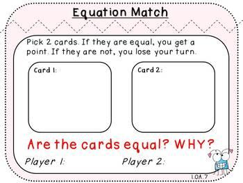 Equation Match-Fact Fluency Student Game  (First Grade, 1.OA.7)