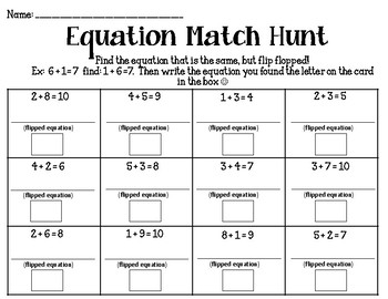 Equation Match Hunt