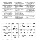 Equation Match-up 6.ee.5, 6.ee.6, 6.ee.7