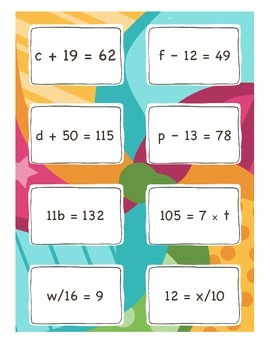 Equation Matching Cards EDITABLE