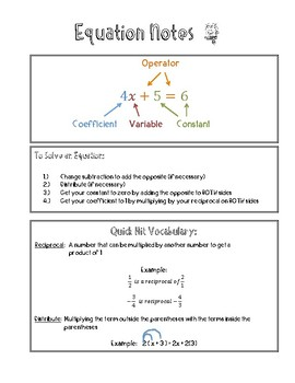 Equation Notes