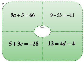 Equation Place-mat Activity Two Steps (Easy)